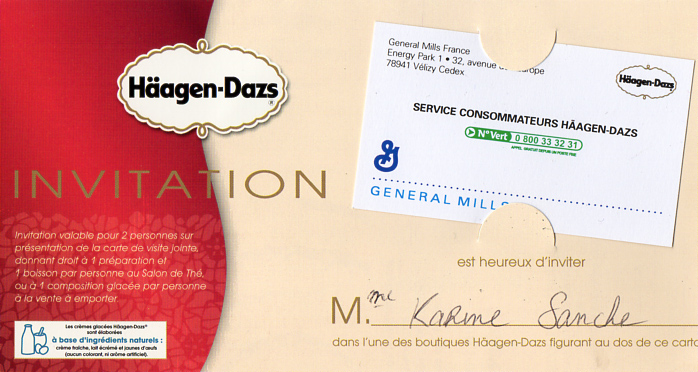 Invitation Haagen Dazs