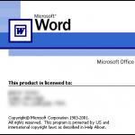 Splash screen de Word XP