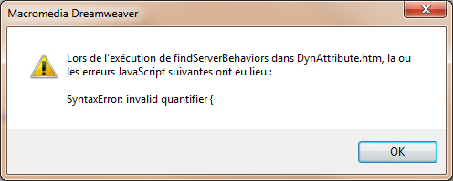 Bug javascript Dreamweaver 8