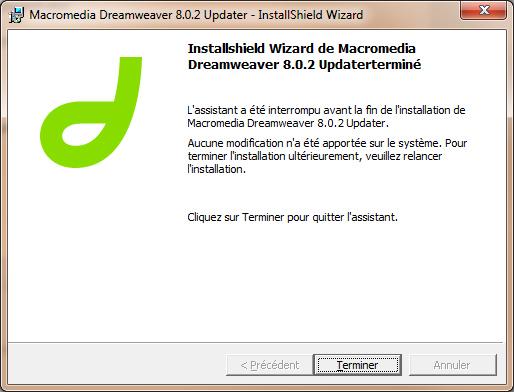 Installation de Dreamweaver 8.0.2 non terminée