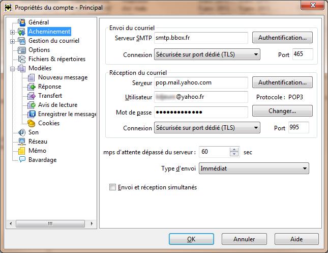 The Bat comptes nouveaux paramètres Yahoo SSL