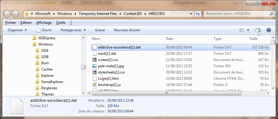 Fichier temp dans Temporary internet files