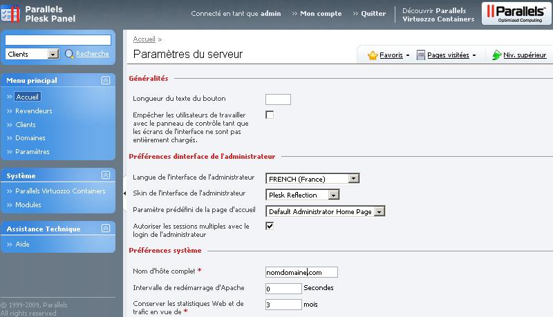 Paramètres du serveur