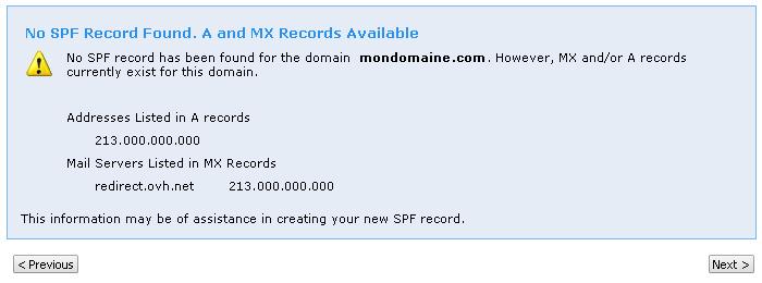 SPF record wizard by MIcrosoft, SPF non détecté