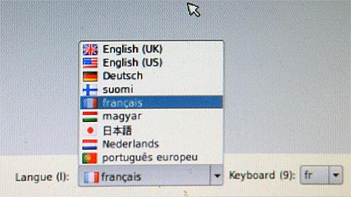 Choix de la langue écran de départ de Noobs
