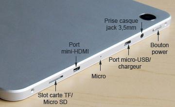 Les slots et ports sur la tablette