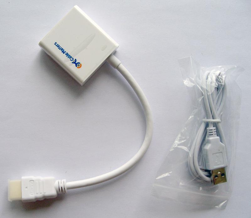 cable adaptateur hdmi vga et son alimentation