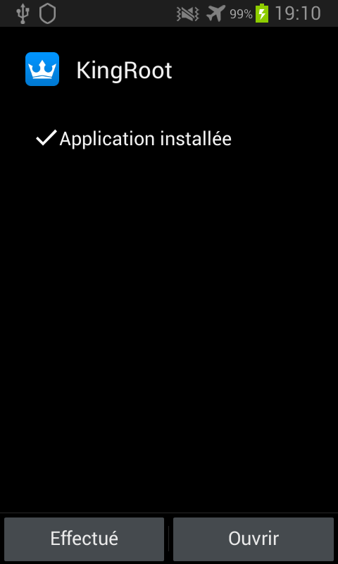 Kingroot Android application installée