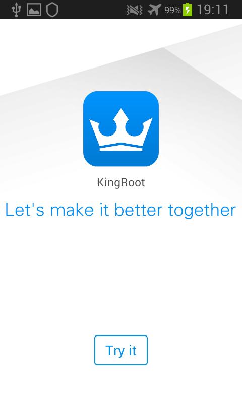Kingroot Android écran pour vérifier que l'appareil n'est pas déjà rooté