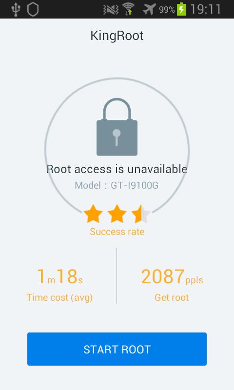 Kingroot Android résultat du test de root : négatif