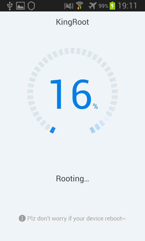Kingroot Android barre de progression procession root 16%