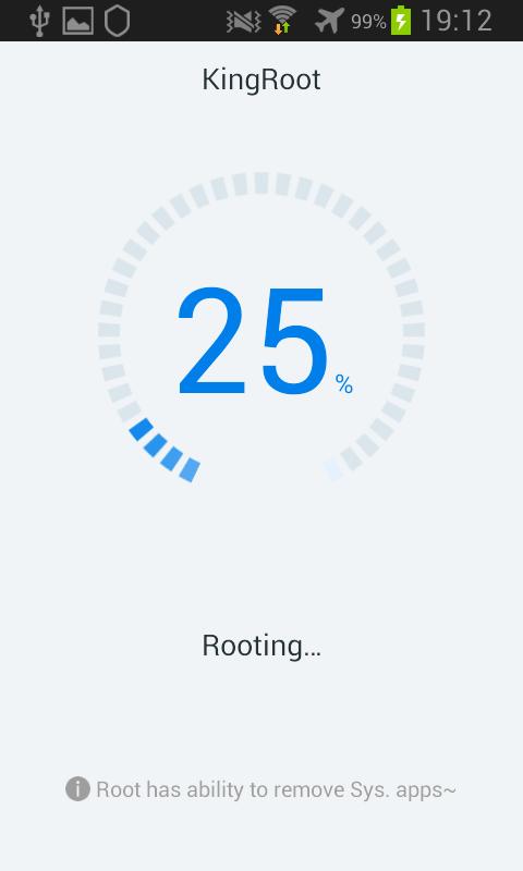 Kingroot Android barre de progression procession root 25%