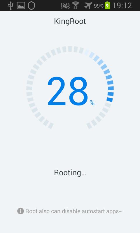 Kingroot Android barre de progression procession root 28%