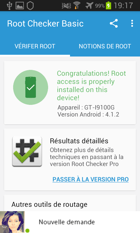 Vérification root smartphone Android avec Root Checker