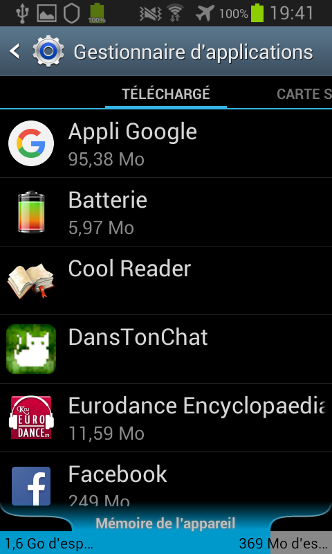 Gestionnaire d'applications Android 4.1