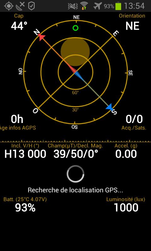 Ecran principal de GPS Status