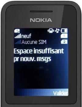nokia 130 message espace stockage sms plein