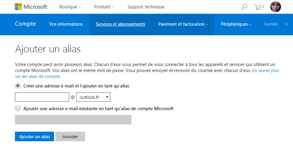 courrier outlook ajout email alias