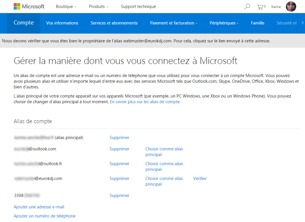 courrier outlook gestion alias-connexion