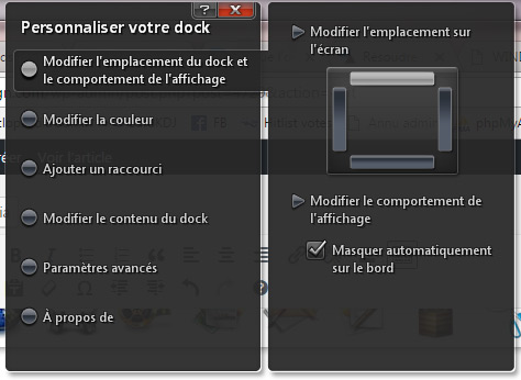 Options du dock Dell