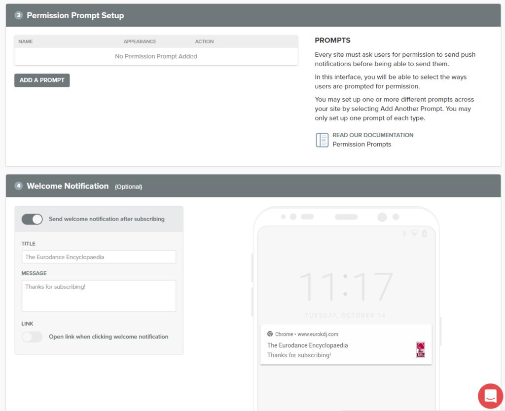 Configuration des prompts d'abonnement