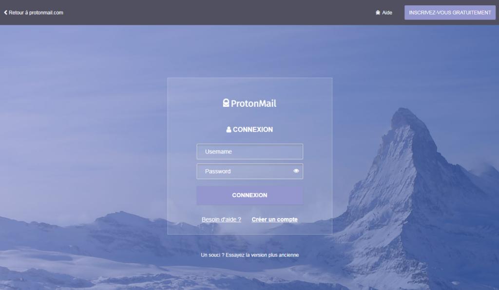 Ecran de login à ProtonMail