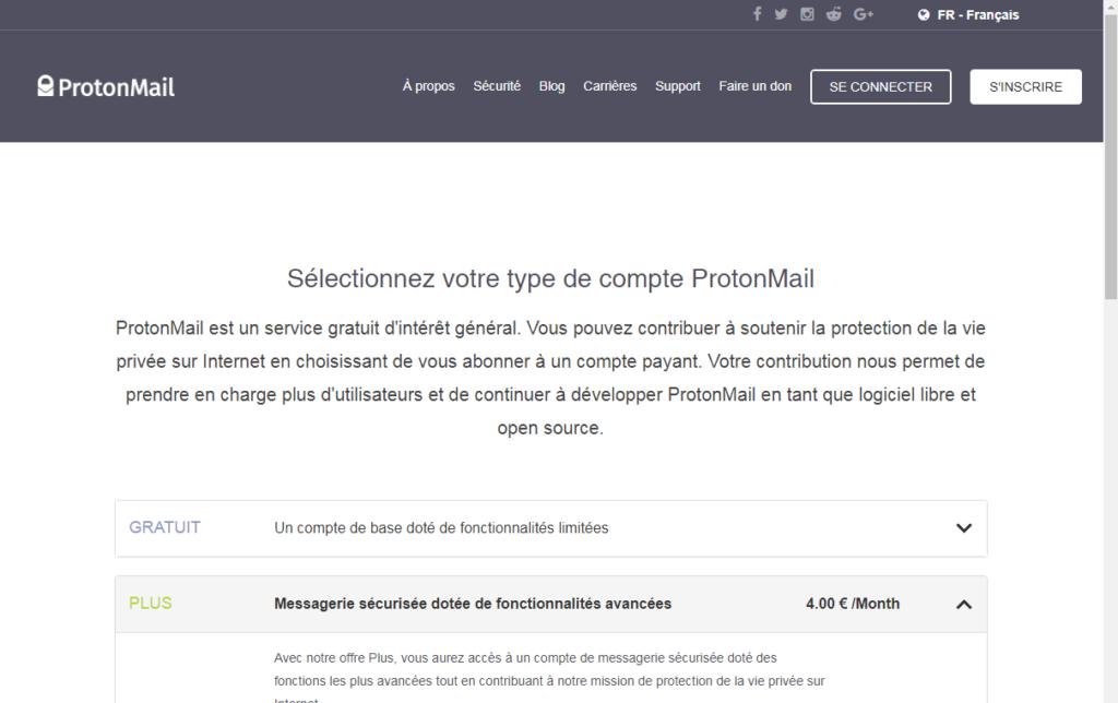 Inscription à ProtonMail
