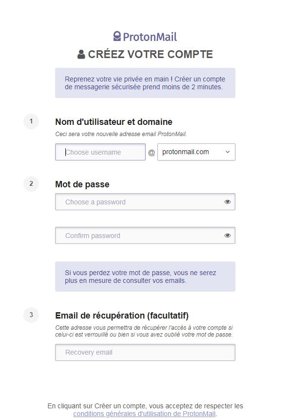 Formulaire d'inscription ProtonMail