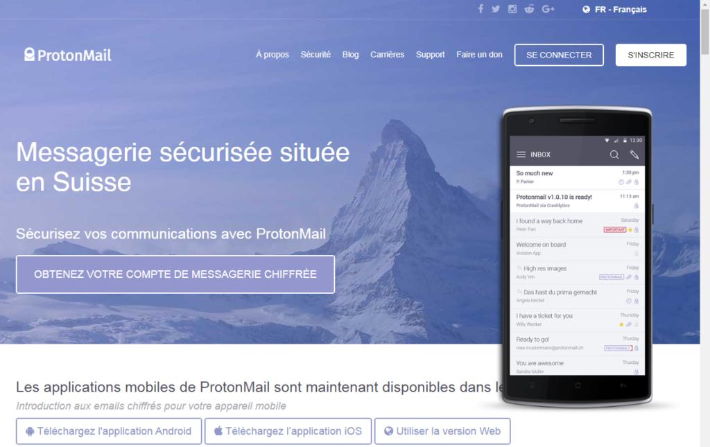 Page d'accueil du site ProtonMail