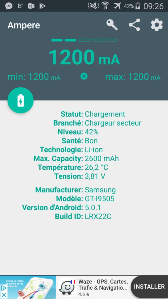 Test de la batterie avec l'appàlication Ampère