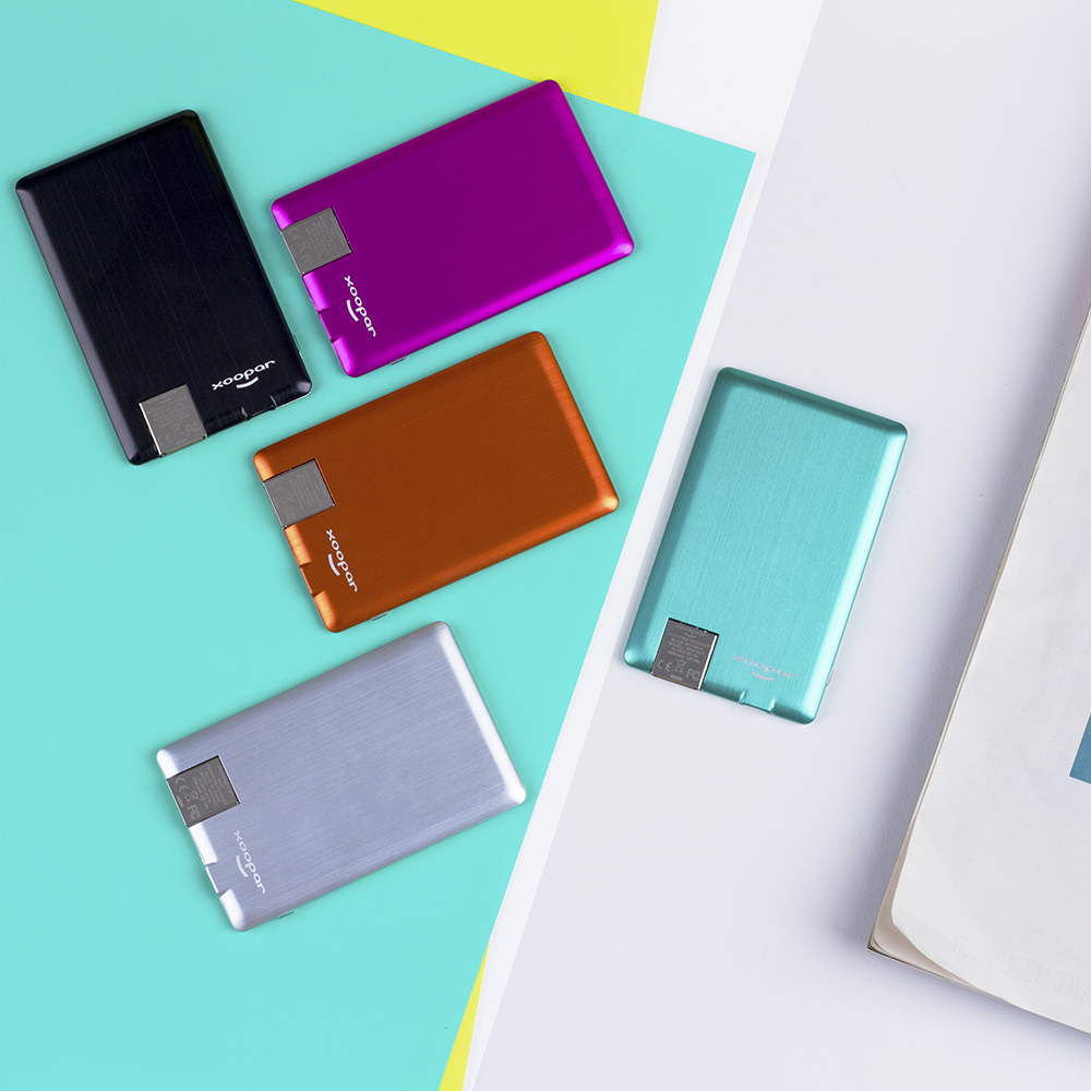 Coloris disponibles pour la batterie Xoopar Powercard