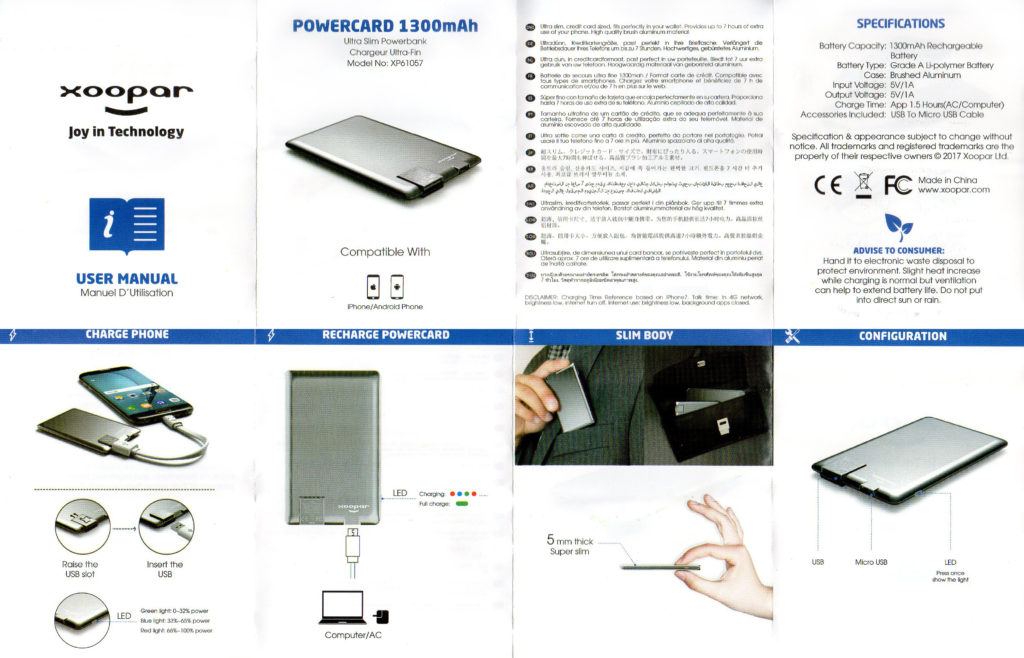 Notice batterie Xoopar Powercard