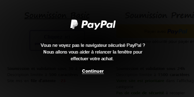 Assombrissement de la page d'appel au popup Paypal