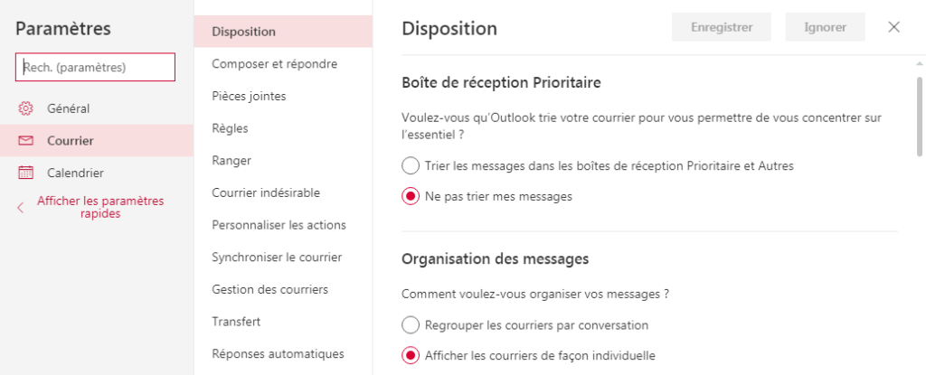 Paramètres Courrier Outlook - Organisation des messages