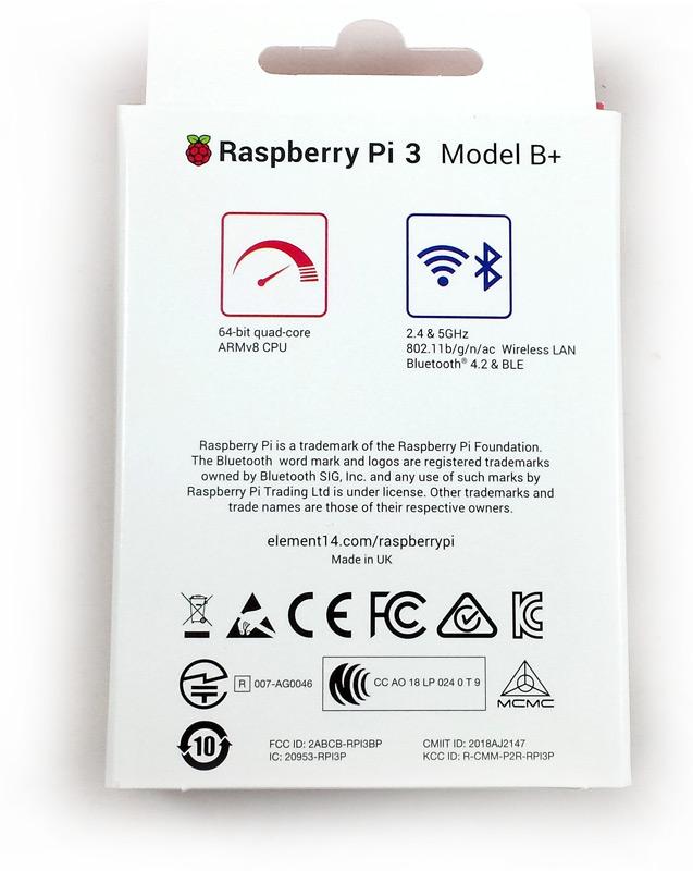 Dos de la boîte en carton du Raspberry Pi 3 Model B+