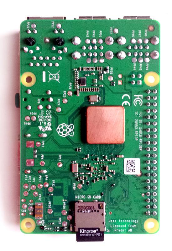 Face inférieure du Raspberry Pi