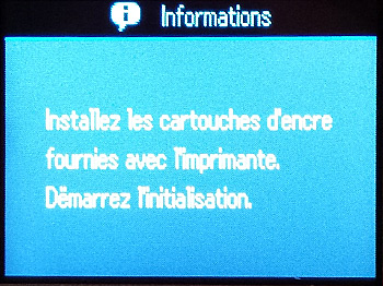 Message demandant l'installation des cartouches