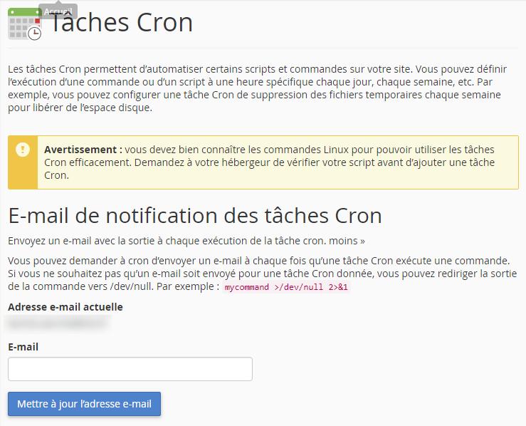 E-mail de notification des tâches cron