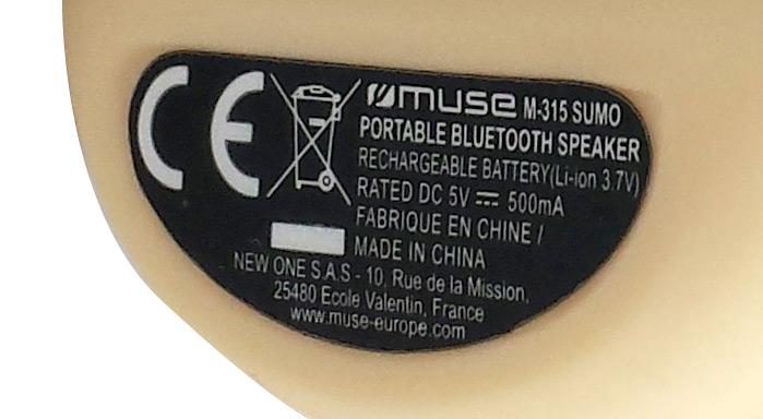 Etiquette face inférieure de l'enceinte portable bluetooth M-315 Sumo