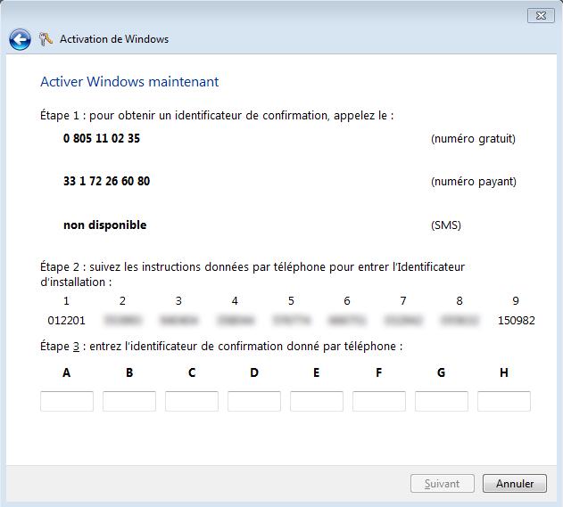 Activation de Windows 7