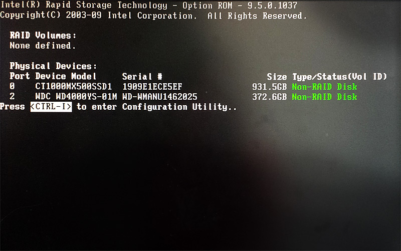 Ecran de boot séquence disques dur RAID