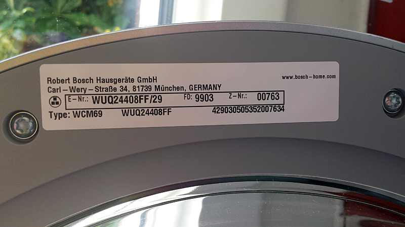Étiquette à l'intérieur du hublot