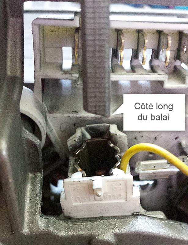 Sens d'introduction du balai moteur