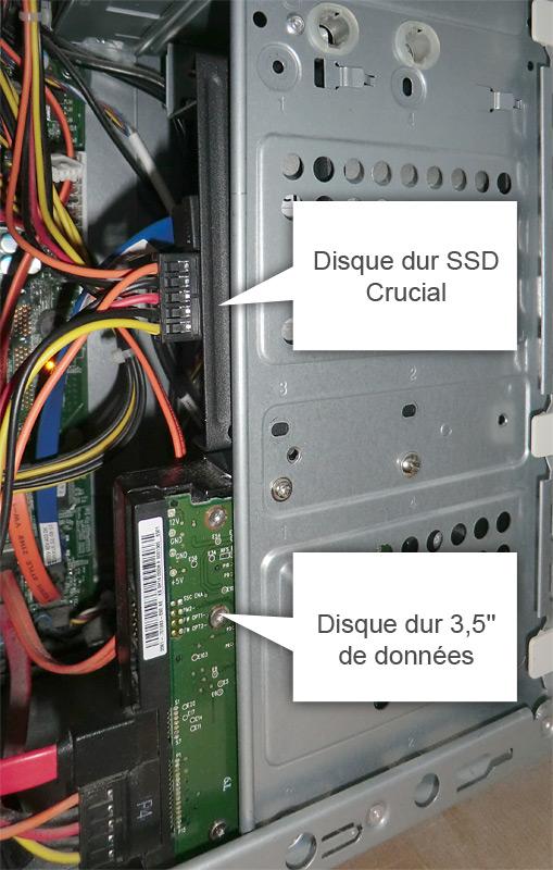 Montage vertical du disque dur