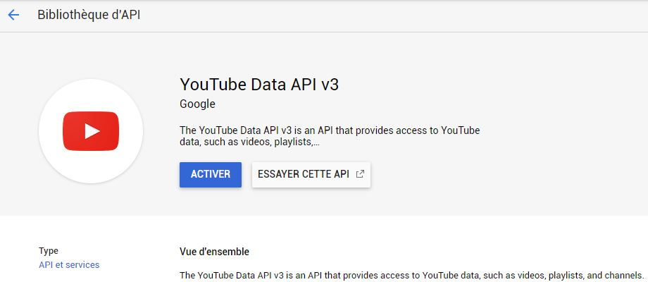 Ecran Youtube data API