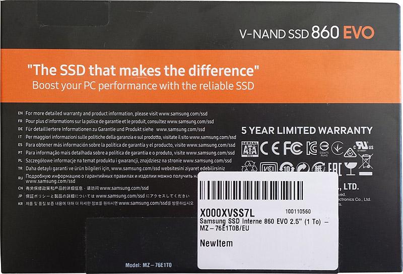 Verso emballage disque dur SSD Samsung 860 evo