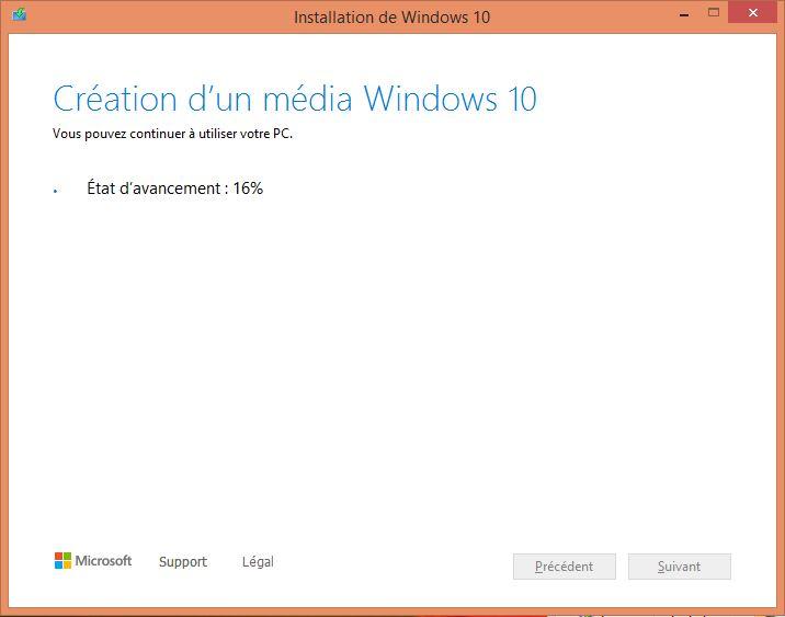 Création d'un média Windows 10