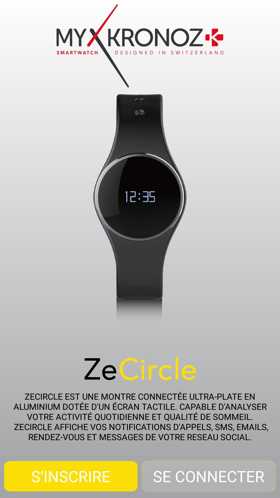 Accueil de l'application MyKronoz ZeCircle