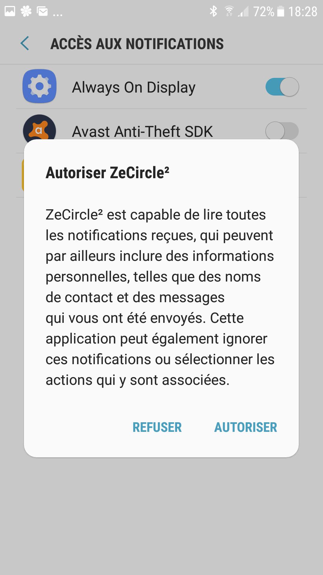 Autorisation des notifications pour l'application
