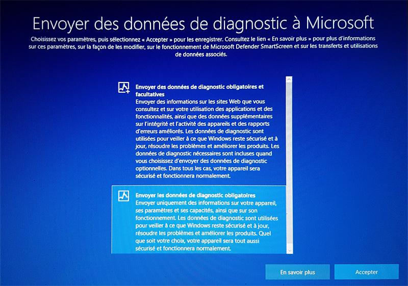 Limitation de l'envoi des données de diagnostic